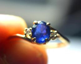 Blue Oval Sapphire Diamonds 14 K Gold Ring $275