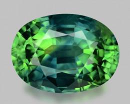 Exquisite oval cut natural parti-colour sapphire.