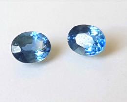 Ceylon Blue Sapphire pair - 0.97cts - 5x4