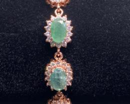(32) Stunning 38.91 tcw. Natural Zambian Emerald Bracelet Unheated Retail $