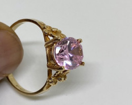 (B3) Marvelous Nat 2.50ct Pink Cubic Zirconia Ring 10K YG 1.3gr
