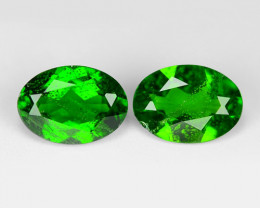 1.60 Cts 2pcs Natural Green Color Chrome Diopside Loose Gemstone