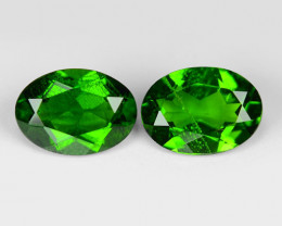 1.54 Cts 2pcs Natural Green Color Chrome Diopside Loose Gemstone 7X5mm