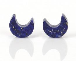 New design Lapis Lazuli moons cabochon pair, crystal crescent moon carving