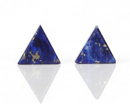 New design Lapis Lazuli Triangle beads Gemstone Cabochon Pair H9529