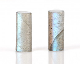 New design Labradorite Cylinder beads Gemstone Cabochon Pair H9527