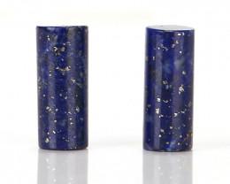 New design Lapis Lazuli Cylinder beads gemstone Cabochon Pair H9526