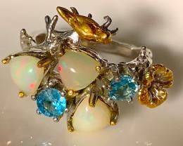 Opal Zircon Gold Bird  Sterling Silver Ring - wonderful colors!