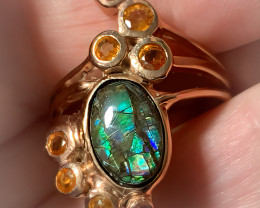 Ammolite Sapphire Ring Size 8 Sterling Silver & 14kt Rose Gold
