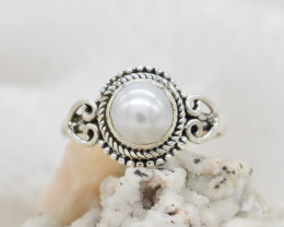 PEARL RING 925 STERLING SILVER NATURAL GEMSTONE JR117