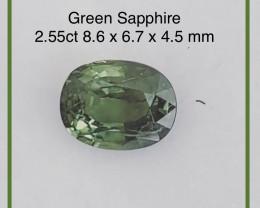 Pretty Green Oval Sapphire -   Ref 2309