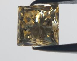 0.117 Champagne princess cut diamond, Square diamond.