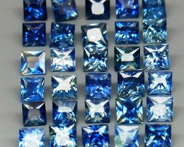 4.30 ct. Natural  Blue Sapphire Sri Lanka Princess Cut 2.5 mm  - 35 Pcs