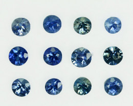 1.34Ct Natural Blue Sapphire Round 3.40mm Parcel Sri Lanka