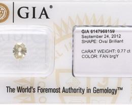 0.77ct  Natural Fancy  Yellow Diamond GIA certified