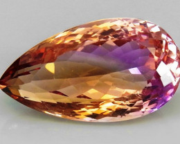 21.83Ct. Natural Bi Color Ametrine Bolivia Pear Shape Facet Attractive Unhe
