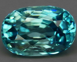 5.24Ct.  Natural Rich Seafoam Blue Zircon Cambodia
