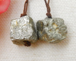 59CTS Fashion Raw Pyrite Earrings, Healing stone, Winter Gemstone E624