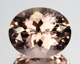 3.38 Cts Dazzling Natural Peach Pink Morganite Oval Cut Brazil Gem