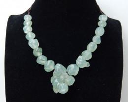 New!! Natural Prehnite Gemstone Necklace ,1 Strand, 31x22x14mm,8x7mm H9727