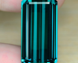 24.50 Cts Huge Size Un Heated AAA Indigo Green Color Natural Tourmaline