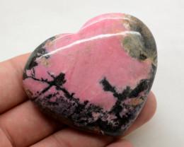 645 Ct Polished Heart Shape Rhodonite From Pakistan