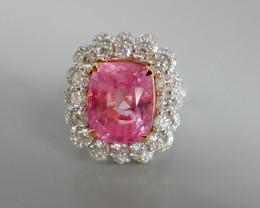 10.38ct Unheated Padparadscha Sapphire Diamond Ring, Sri Lanka