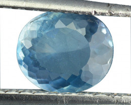 1.82 Cts Natural Silky Blue Apatite Oval Cut Brazil