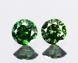 ~PAIR~ 0.10 Cts Natural Diamond Flashing Green 2.3mm Round Africa