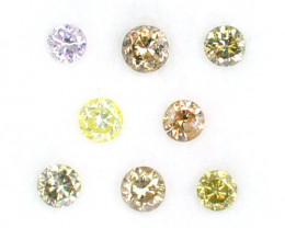 ~UNTREATED~ 0.29 Cts Natural Diamond Fancy Yellow Round 8Pcs Africa