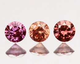~SET~ 0.07 Cts Natural Purplish Pink Diamond 3 Pcs Round Africa