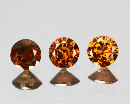 0.09 Cts Natural Cognac Orange Diamond 3Pcs Round Africa