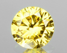 0.13 Cts Natural Untreated Diamond Fancy Yellow 3.1mm Round Cut Africa
