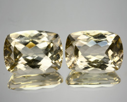 24.48 Cts Natural Untreated Topaz Yellow 15.5x11.5mm Cushion Pair Brazil