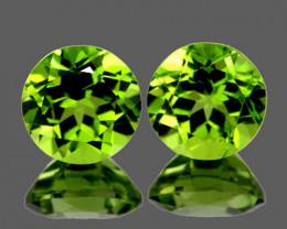 6.00 mm Round 2 pcs 2.00cts Green Peridot [VVS]