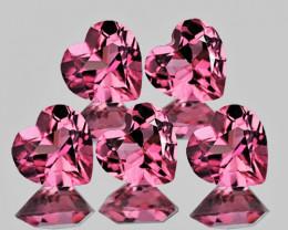 4.00 mm Heart 5 pcs 1.18cts Orange Pink Tourmaline [VVS]