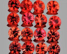 1.80 mm Round Machine Cut 30 pcs 1.07ct Pinkish Orange Sapphire [VVS]