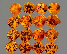1.70 mm Round Machine Cut 35pcs 1.10cts Orange Sapphire [VVS]