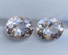 8.76 Carats Morganite Gemstones Pairs