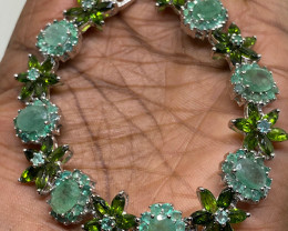 (28)Superb Nat 125 tcw. Emerald & Chrome Diopside  sapphire Bracelet Untrea