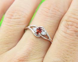 Natural Garnet 925 Sterling Silver Ring Size 9  (SSR0620 ) No Reserve