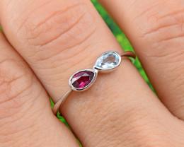 Natural Topaz & Garnet 925 Sterling Silver Ring Size 8(SSR0625 )