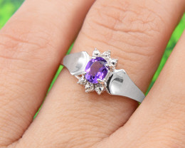 Natural Amethyst 925 Sterling Silver Ring Size 6 (SSR0630 )