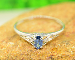 Natural Blue Sapphire 925 Sterling Silver Ring Size 8 (SSR0627 )