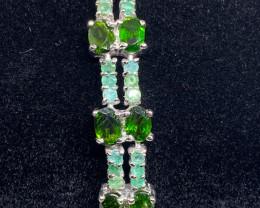 (11) Superb Nat 70 tcw. Emerald & Chrome Diopside Bracelet Untreated