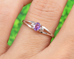 Natural Purple Sapphire  Size  6 US, 925 Sterling Silver Ring (SSR0629) - N