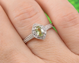 Natural Green Sapphire Size 5 US, 925 Sterling Silver Ring (SSR632)
