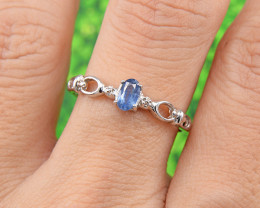 Natural Blue Sapphire Size 8 US, 925 Sterling Silver Ring (SSR0628)