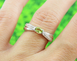 Natural Peridot Size  6 US, 925 Sterling Silver Ring (SSR606)