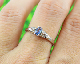 Natural Blue Sapphire Size 7  US, 925 Sterling Silver Ring (SSR608)